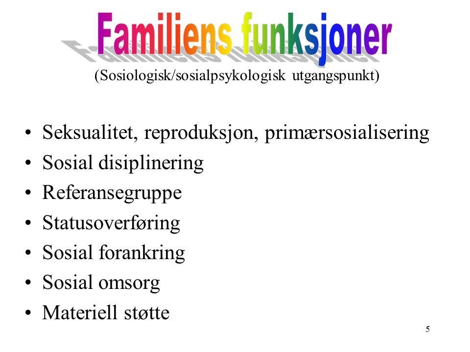 5 (Sosiologisk/sosialpsykologisk utgangspunkt) Seksualitet, reproduksjon, primærsosialisering Sosial disiplinering Referansegruppe Statusoverføring So