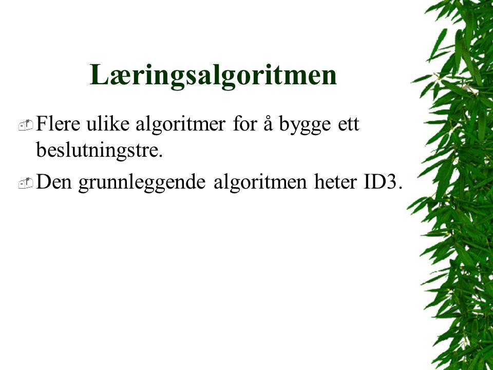 Læringsalgoritmen  Flere ulike algoritmer for å bygge ett beslutningstre.