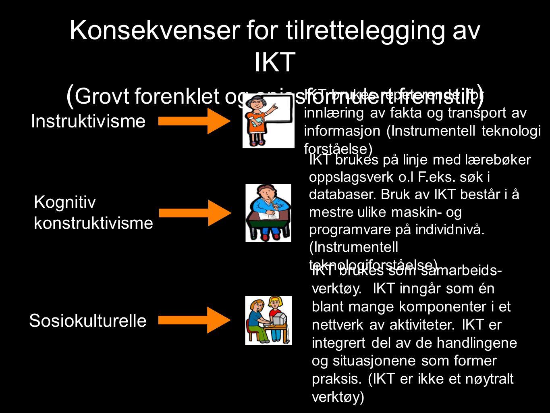 Konsekvenser for tilrettelegging av IKT ( Grovt forenklet og spissformulert fremstilt ) Instruktivisme IKT brukes repeterende for innlæring av fakta og transport av informasjon (Instrumentell teknologi forståelse) Kognitiv konstruktivisme IKT brukes på linje med lærebøker oppslagsverk o.l F.eks.