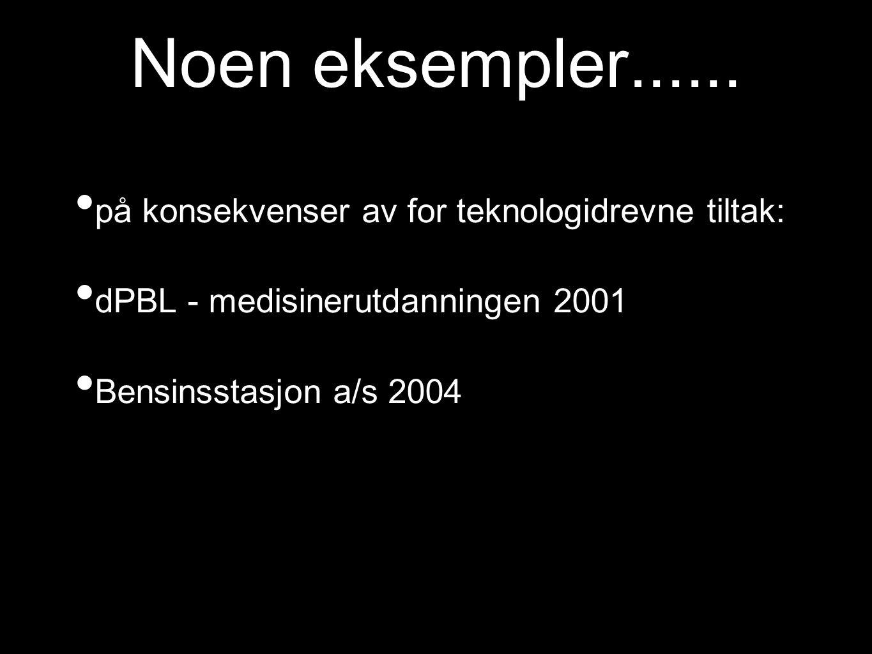 Noen eksempler...... på konsekvenser av for teknologidrevne tiltak: dPBL - medisinerutdanningen 2001 Bensinsstasjon a/s 2004