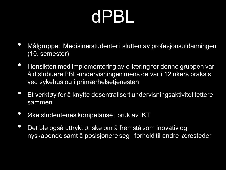 dPBL Målgruppe: Medisinerstudenter i slutten av profesjonsutdanningen (10. semester) Hensikten med implementering av e-læring for denne gruppen var å