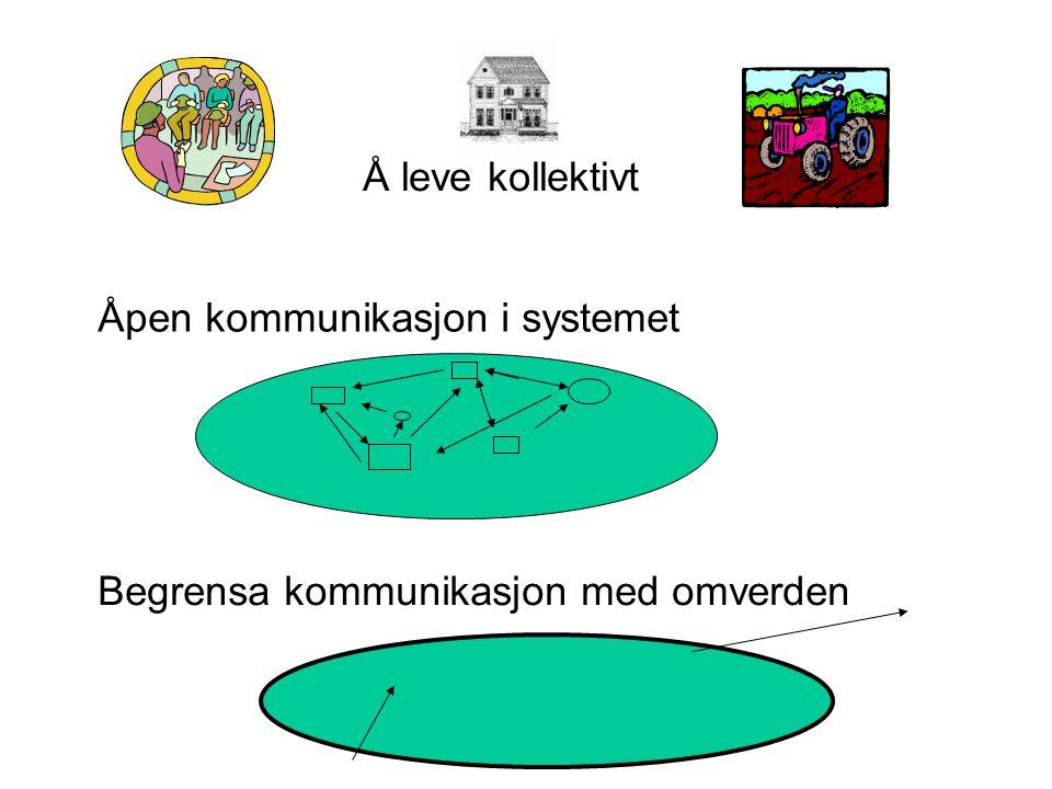 Å leve kollektivt Åpen kommunikasjon i systemet Begrensa kommunikasjon med omverden