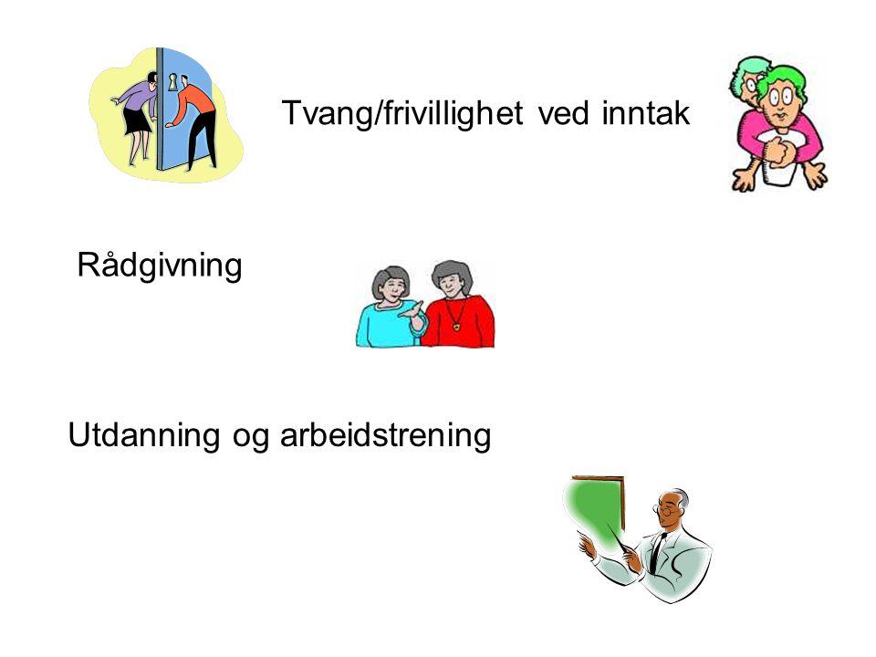 Tvang/frivillighet ved inntak Utdanning og arbeidstrening Rådgivning