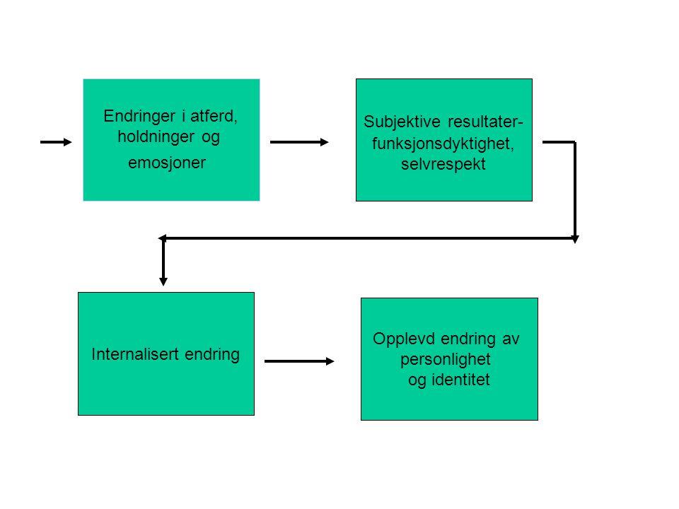 Endringer i atferd, holdninger og emosjoner Subjektive resultater- funksjonsdyktighet, selvrespekt Internalisert endring Opplevd endring av personlighet og identitet