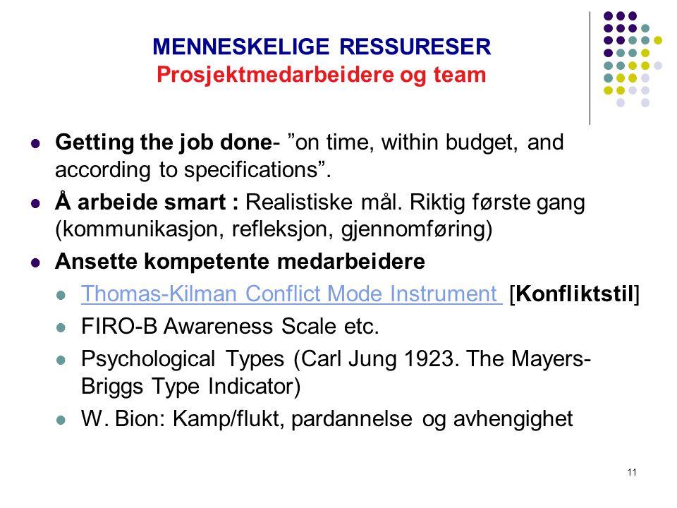 10 MENNESKELIGE RFESSURESER: Myndiggjøring (E) og teambygging Uttrykt teori og bruksteori. En virkelig team: navn, samarbeid og effektive møter. Perso