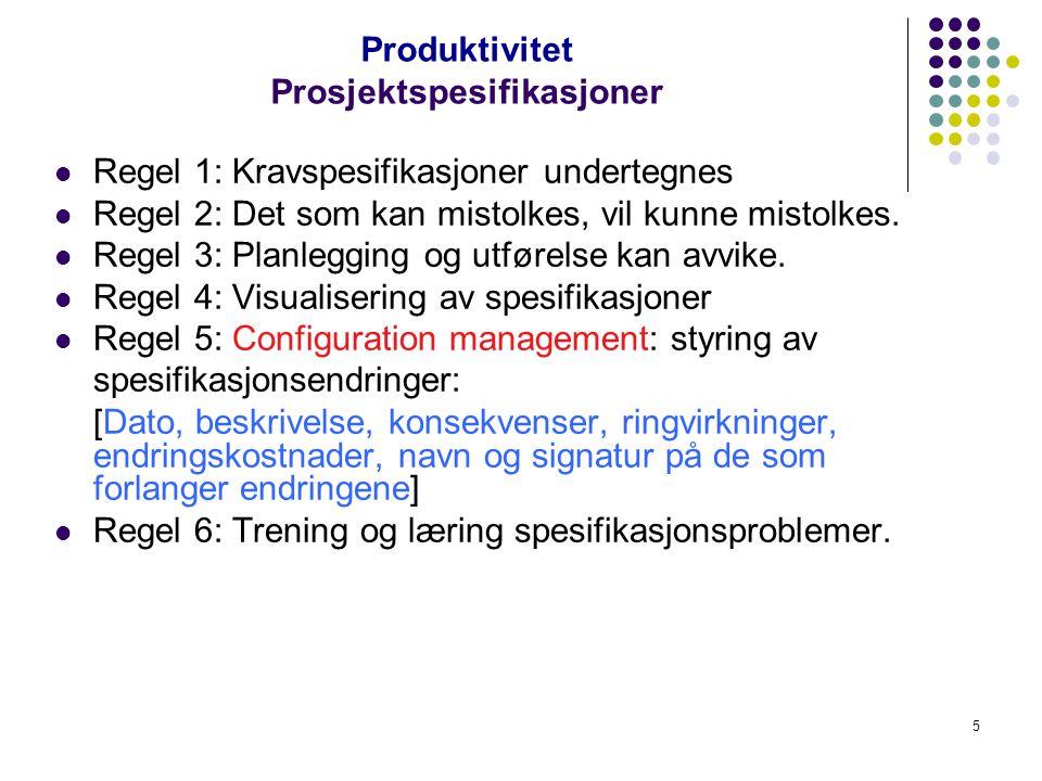4 Produktivitet Lokalisering & identifisering Hva er det oppdragsgiveren vil? Behovenes livssyklus (The Needs Life Cycle): Et behov oppstår, anerkjenn