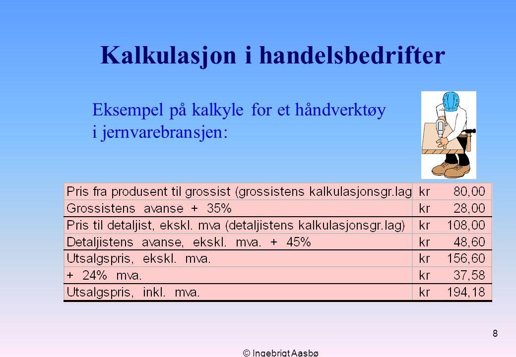 © Ingebrigt Aasbø 8 Kalkulasjon i handelsbedrifter Eksempel på kalkyle for et håndverktøy i jernvarebransjen: