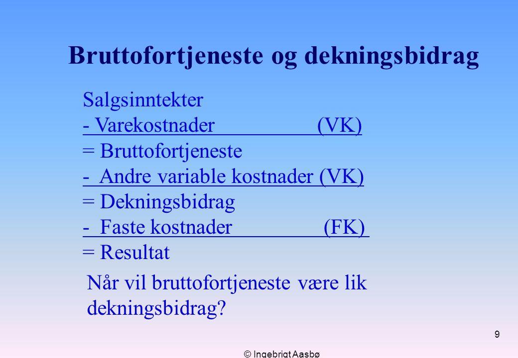 © Ingebrigt Aasbø 9 Bruttofortjeneste og dekningsbidrag Salgsinntekter - Varekostnader (VK) = Bruttofortjeneste - Andre variable kostnader (VK) = Dekn