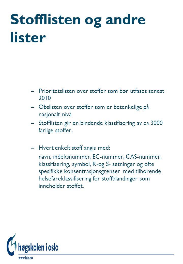 Stofflisten og andre lister –Prioritetslisten over stoffer som bør utfases senest 2010 –Obslisten over stoffer som er betenkelige på nasjonalt nivå –S