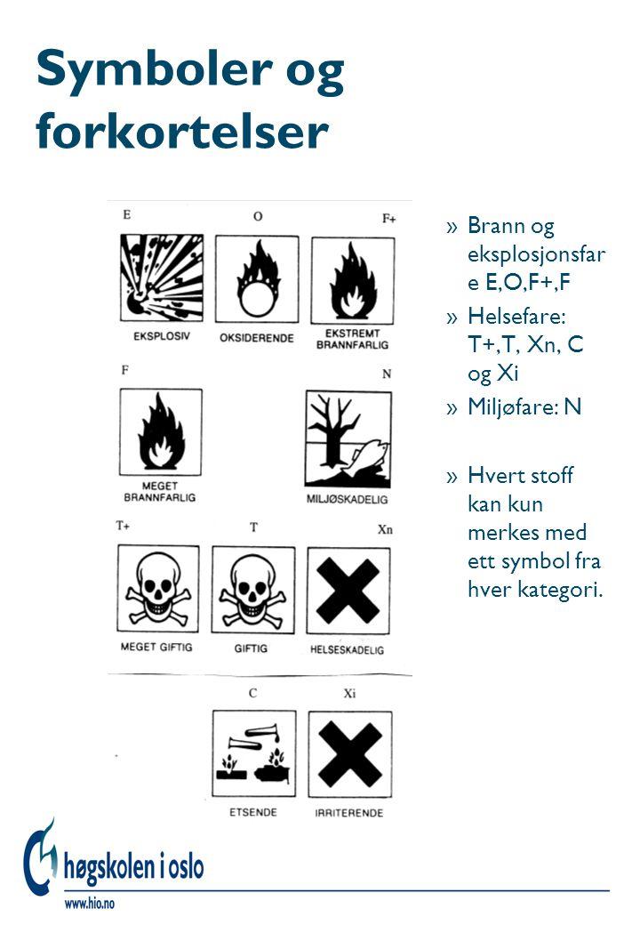 Symboler og forkortelser »Brann og eksplosjonsfar e E,O,F+,F »Helsefare: T+,T, Xn, C og Xi »Miljøfare: N »Hvert stoff kan kun merkes med ett symbol fr