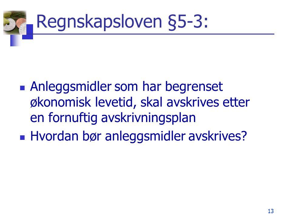 13 Regnskapsloven §5-3: Anleggsmidler som har begrenset økonomisk levetid, skal avskrives etter en fornuftig avskrivningsplan Hvordan bør anleggsmidle