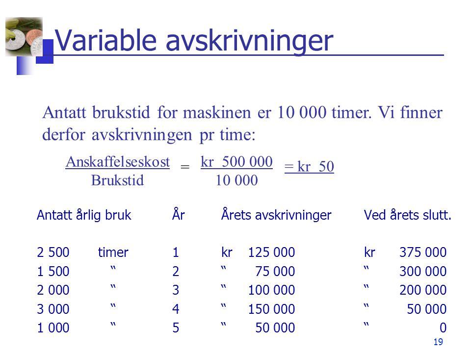 """19 Variable avskrivninger Antatt årlig brukÅrÅrets avskrivninger Ved årets slutt. 2 500timer1kr125 000kr375 000 1 500""""2"""" 75 000""""300 000 2 000""""3"""" 100 0"""
