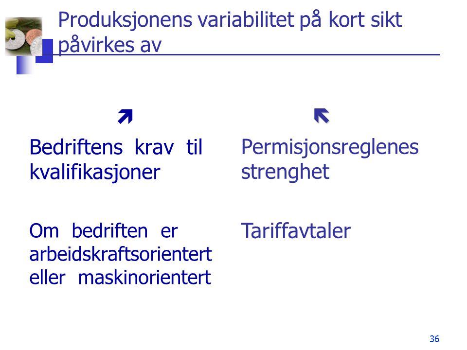 36 Produksjonens variabilitet på kort sikt påvirkes av  Bedriftens krav til kvalifikasjoner Om bedriften er arbeidskraftsorientert eller maskinorient