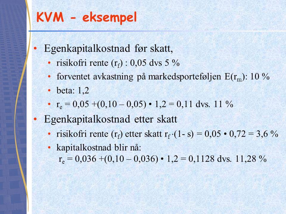 KVM - eksempel Egenkapitalkostnad før skatt, risikofri rente (r f ) : 0,05 dvs 5 % forventet avkastning på markedsporteføljen E(r m ): 10 % beta: 1,2 r e = 0,05 +(0,10 – 0,05) 1,2 = 0,11 dvs.