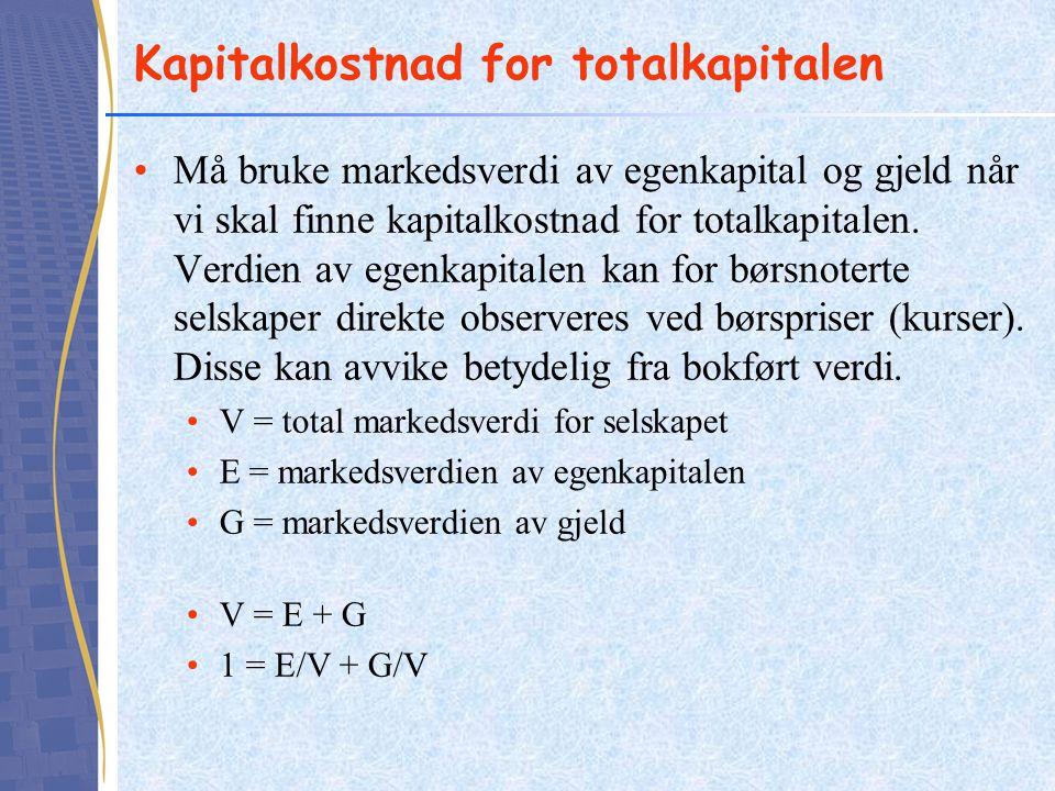 Kapitalkostnad for totalkapitalen Må bruke markedsverdi av egenkapital og gjeld når vi skal finne kapitalkostnad for totalkapitalen. Verdien av egenka