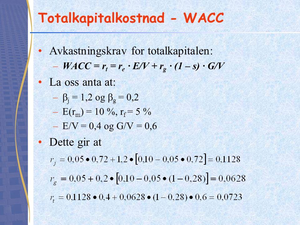 Totalkapitalkostnad - WACC Avkastningskrav for totalkapitalen: –WACC = r t = r e ∙ E/V + r g ∙ (1 – s) ∙ G/V La oss anta at: –  j = 1,2 og  g = 0,2 –E(r m ) = 10 %, r f = 5 % –E/V = 0,4 og G/V = 0,6 Dette gir at