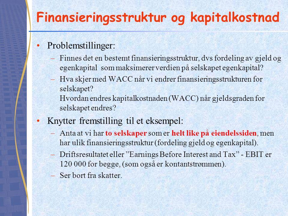 Finansieringsstruktur og kapitalkostnad Problemstillinger: –Finnes det en bestemt finansieringsstruktur, dvs fordeling av gjeld og egenkapital som maksimerer verdien på selskapet egenkapital.