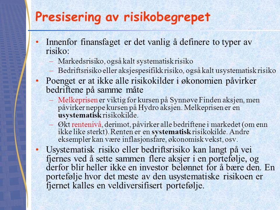Innenfor finansfaget er det vanlig å definere to typer av risiko: –Markedsrisiko, også kalt systematisk risiko –Bedriftsrisiko eller aksjespesifikk ri