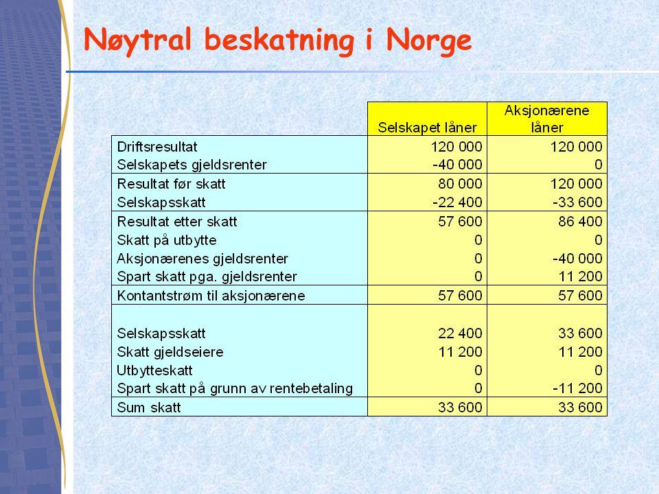 Nøytral beskatning i Norge