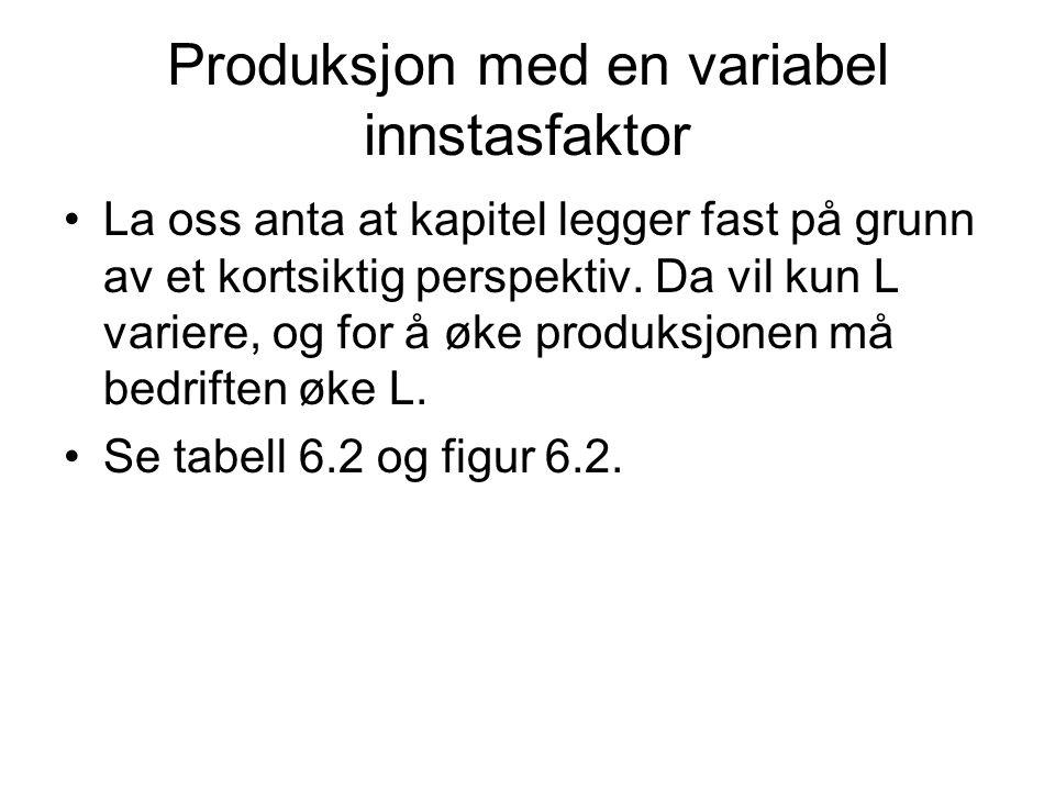 Produksjon med en variabel innstasfaktor La oss anta at kapitel legger fast på grunn av et kortsiktig perspektiv. Da vil kun L variere, og for å øke p