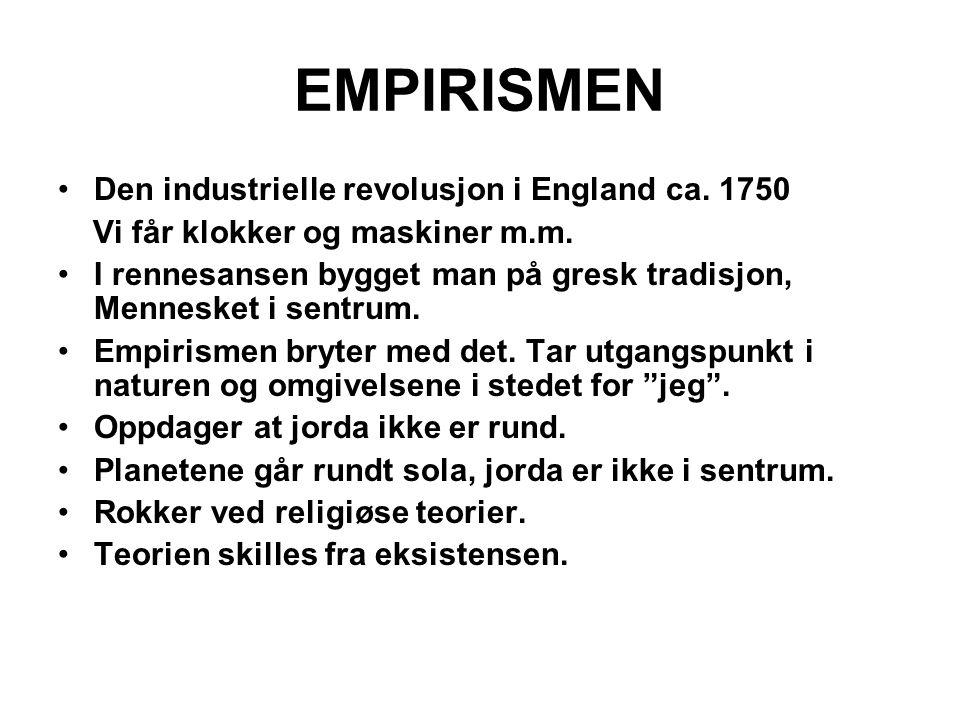 EMPIRISMEN Den industrielle revolusjon i England ca. 1750 Vi får klokker og maskiner m.m. I rennesansen bygget man på gresk tradisjon, Mennesket i sen