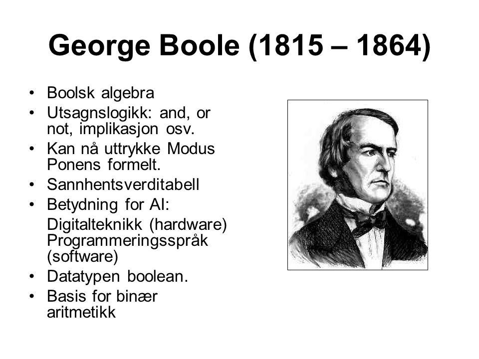George Boole (1815 – 1864) Boolsk algebra Utsagnslogikk: and, or not, implikasjon osv. Kan nå uttrykke Modus Ponens formelt. Sannhentsverditabell Bety