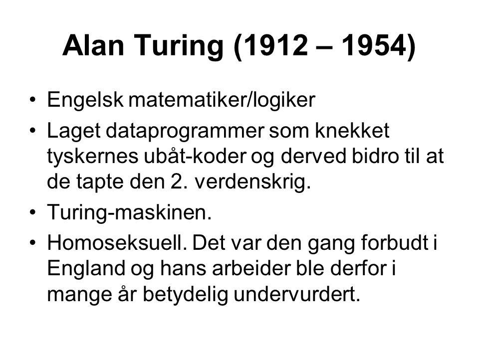 Engelsk matematiker/logiker Laget dataprogrammer som knekket tyskernes ubåt-koder og derved bidro til at de tapte den 2. verdenskrig. Turing-maskinen.