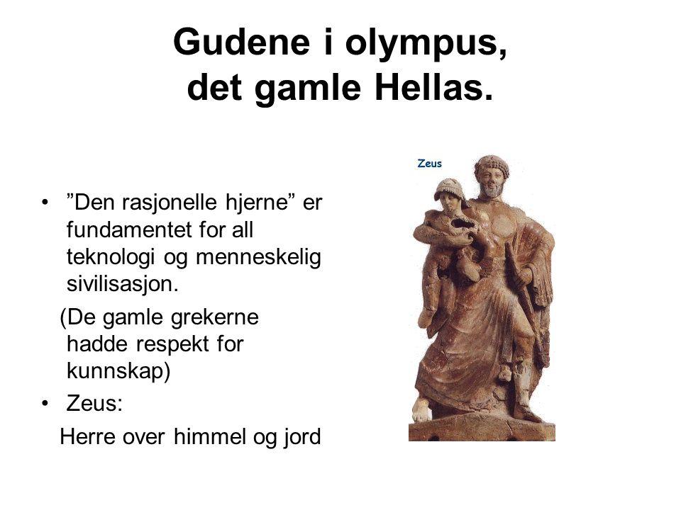 """Gudene i olympus, det gamle Hellas. """"Den rasjonelle hjerne"""" er fundamentet for all teknologi og menneskelig sivilisasjon. (De gamle grekerne hadde res"""