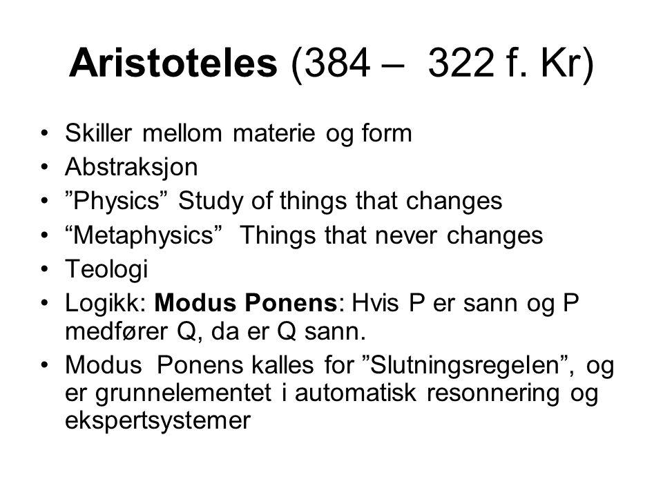 Skiller mellom materie og form Abstraksjon Physics Study of things that changes Metaphysics Things that never changes Teologi Logikk: Modus Ponens: Hvis P er sann og P medfører Q, da er Q sann.