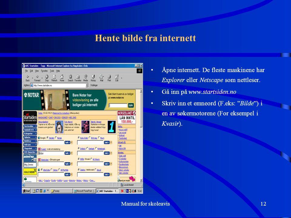 Manual for skoleavis12 Hente bilde fra internett Åpne internett. De fleste maskinene har Explorer eller Netscape som nettleser. Gå inn på www.startsid
