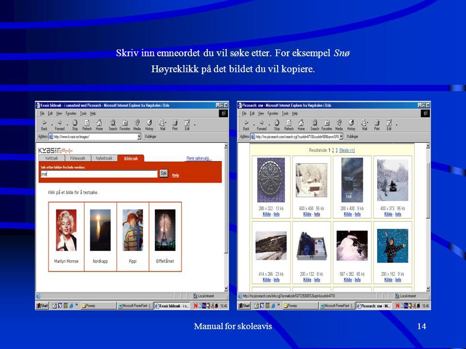 Manual for skoleavis14 Skriv inn emneordet du vil søke etter. For eksempel Snø Høyreklikk på det bildet du vil kopiere.