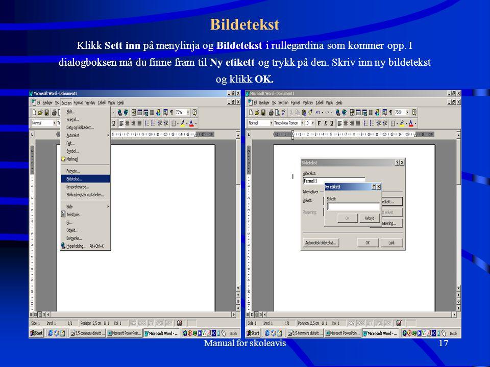 Manual for skoleavis17 Bildetekst Klikk Sett inn på menylinja og Bildetekst i rullegardina som kommer opp.