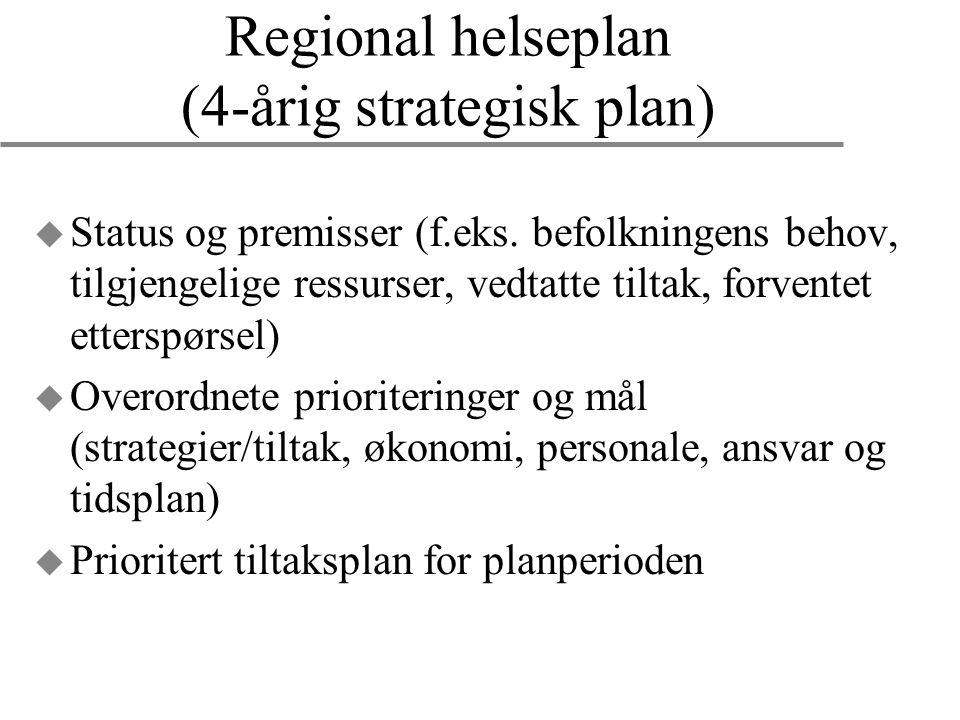 Regional helseplan (4-årig strategisk plan) u Status og premisser (f.eks. befolkningens behov, tilgjengelige ressurser, vedtatte tiltak, forventet ett