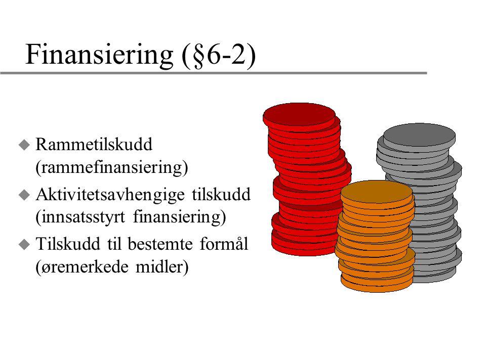 Finansiering (§6-2) u Rammetilskudd (rammefinansiering) u Aktivitetsavhengige tilskudd (innsatsstyrt finansiering) u Tilskudd til bestemte formål (øre