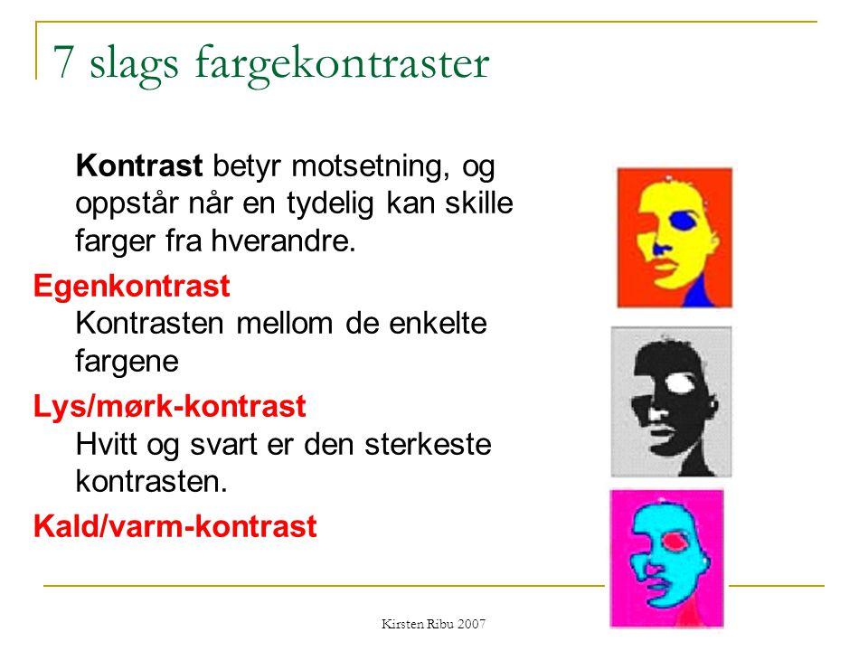 Kirsten Ribu 2007 7 slags fargekontraster Kontrast betyr motsetning, og oppstår når en tydelig kan skille farger fra hverandre. Egenkontrast Kontraste