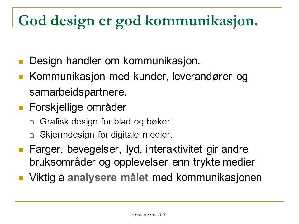 Kirsten Ribu 2007 Bevisst design Grafisk design kan ikke skilles fra design av brukergrensesnittet Form og innhold hører sammen Bruk tekst og bilder for å understreke innholdet Bruk logoer, merkevare bevisst