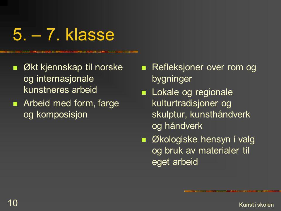 Kunst i skolen 10 5. – 7. klasse Økt kjennskap til norske og internasjonale kunstneres arbeid Arbeid med form, farge og komposisjon Refleksjoner over