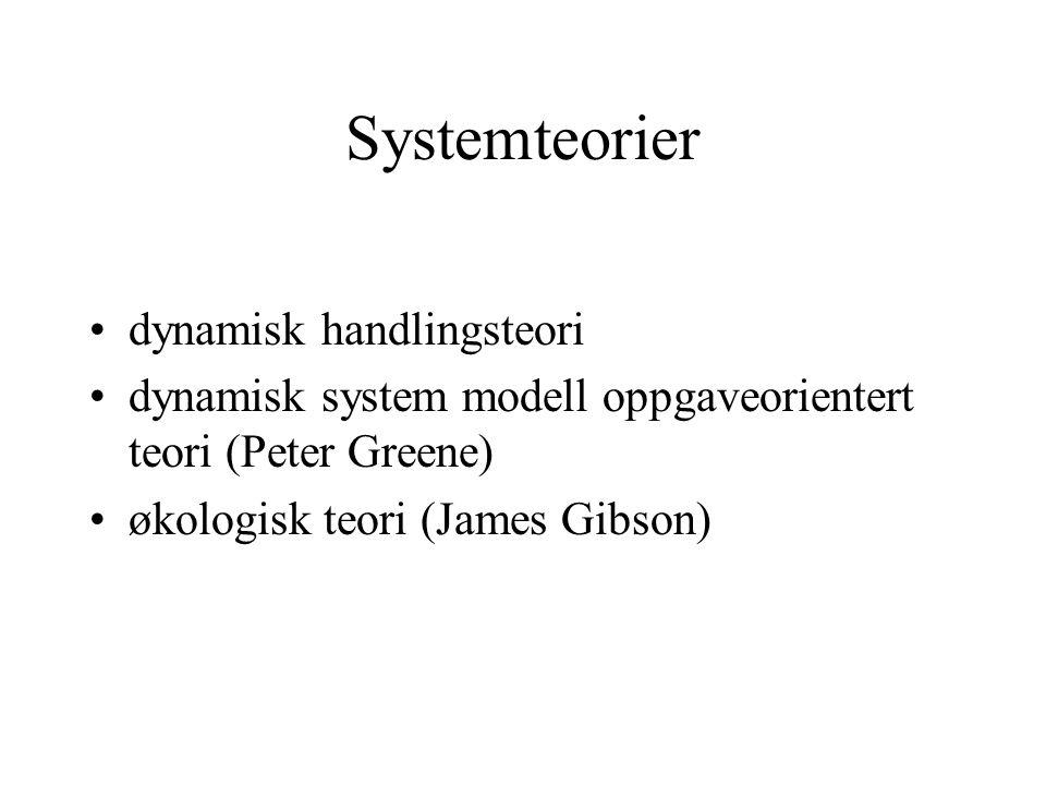 Systemteorier dynamisk handlingsteori dynamisk system modell oppgaveorientert teori (Peter Greene) økologisk teori (James Gibson)