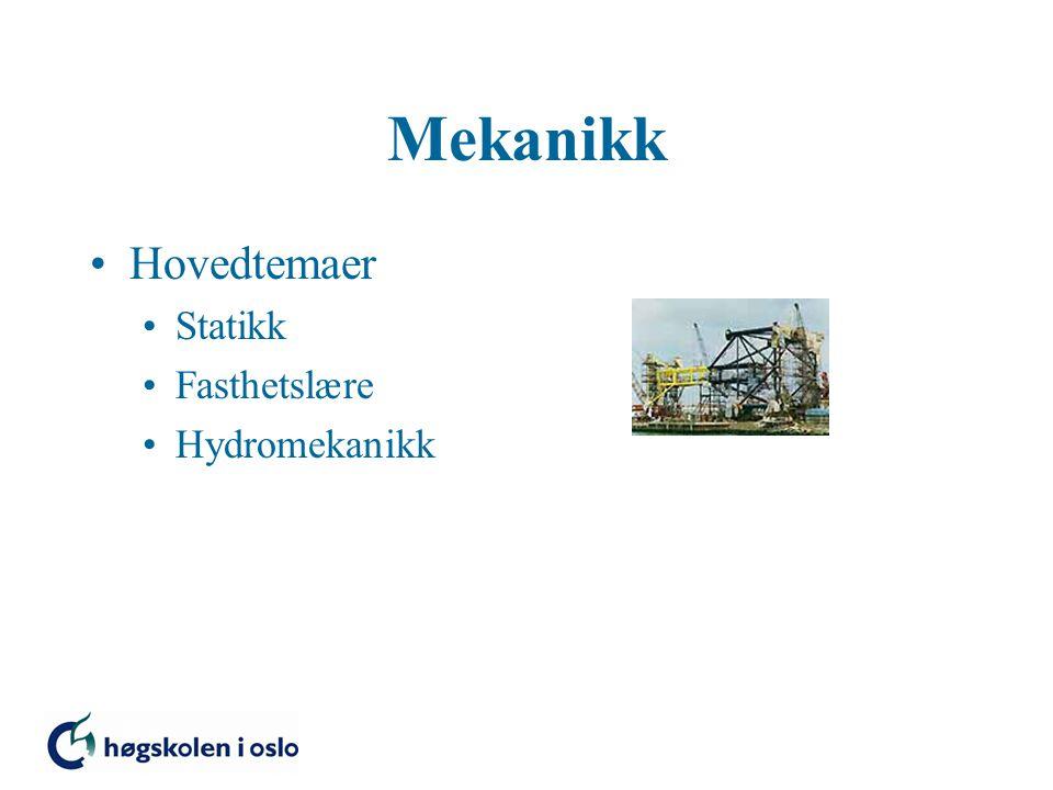 Mekanikk Hovedtemaer Statikk Fasthetslære Hydromekanikk