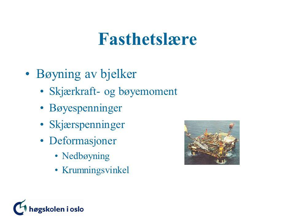 Bøyning av bjelker Skjærkraft- og bøyemoment Bøyespenninger Skjærspenninger Deformasjoner Nedbøyning Krumningsvinkel