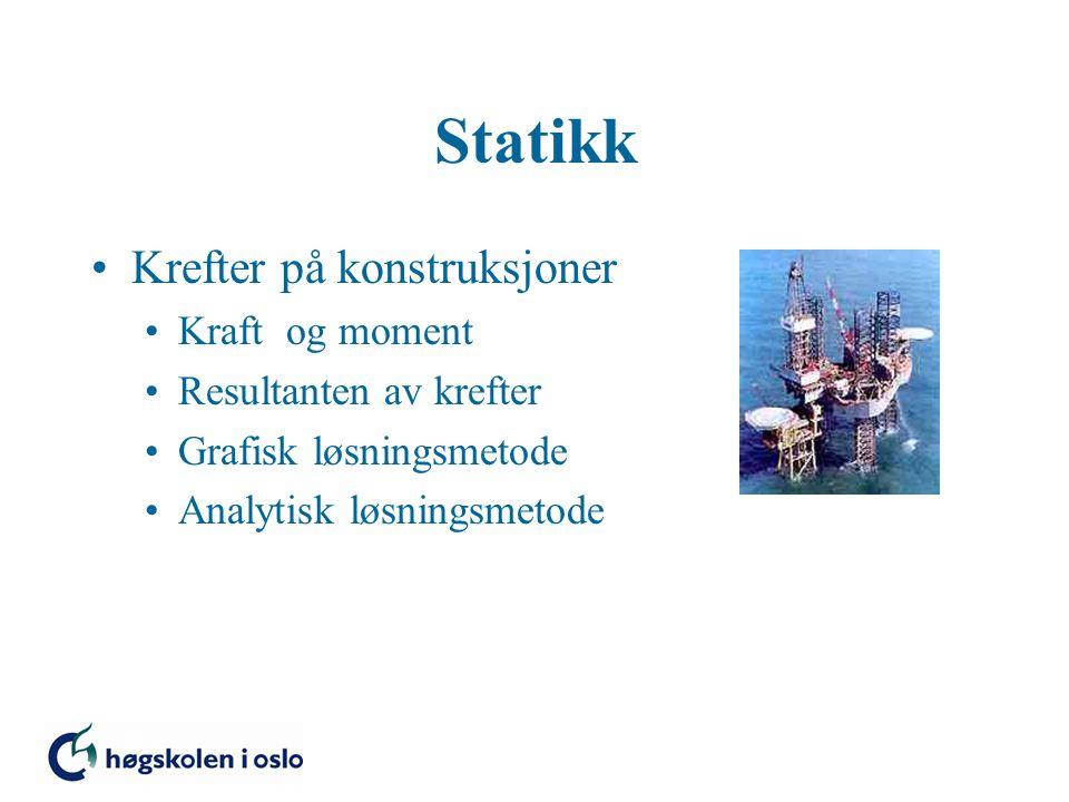 Statikk Krefter på konstruksjoner Kraft og moment Resultanten av krefter Grafisk løsningsmetode Analytisk løsningsmetode