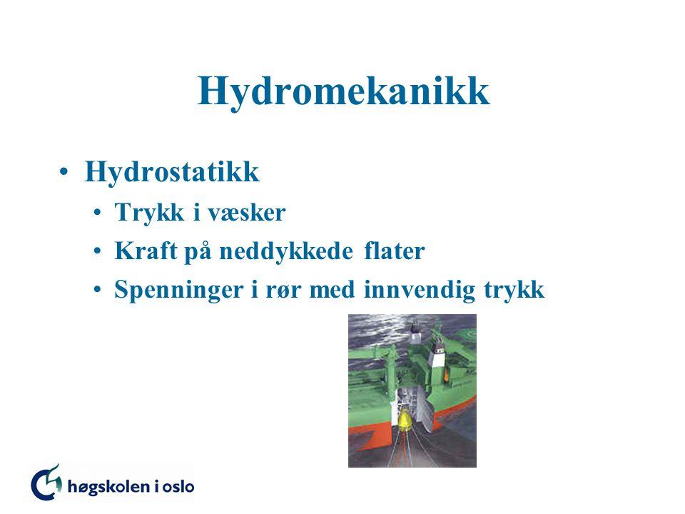 Hydromekanikk Hydrostatikk Trykk i væsker Kraft på neddykkede flater Spenninger i rør med innvendig trykk