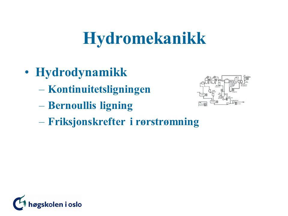 Hydrodynamikk –Kontinuitetsligningen –Bernoullis ligning –Friksjonskrefter i rørstrømning