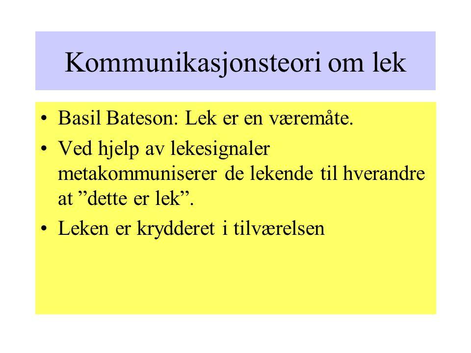 Kommunikasjonsteori om lek Basil Bateson: Lek er en væremåte.