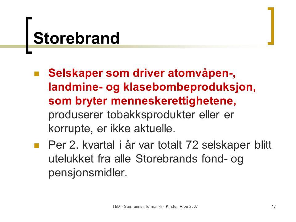 HiO - Samfunnsinformatikk - Kirsten Ribu 200717 Storebrand Selskaper som driver atomvåpen-, landmine- og klasebombeproduksjon, som bryter menneskerettighetene, produserer tobakksprodukter eller er korrupte, er ikke aktuelle.