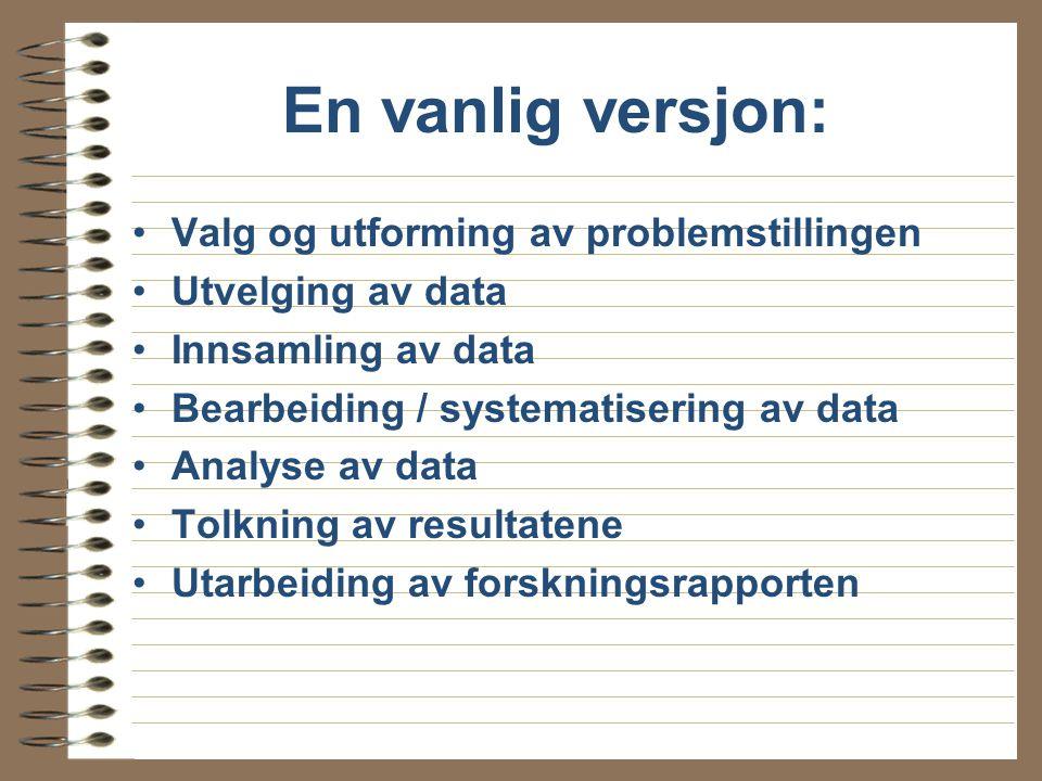 En vanlig versjon: Valg og utforming av problemstillingen Utvelging av data Innsamling av data Bearbeiding / systematisering av data Analyse av data Tolkning av resultatene Utarbeiding av forskningsrapporten