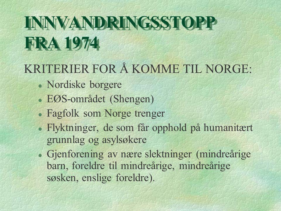 INNVANDRINGSSTOPP FRA 1974 KRITERIER FOR Å KOMME TIL NORGE: l Nordiske borgere l EØS-området (Shengen) l Fagfolk som Norge trenger l Flyktninger, de s