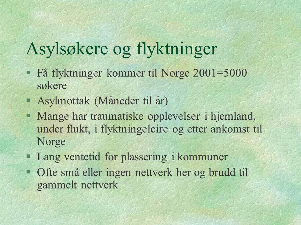Asylsøkere og flyktninger §Få flyktninger kommer til Norge 2001=5000 søkere §Asylmottak (Måneder til år) §Mange har traumatiske opplevelser i hjemland