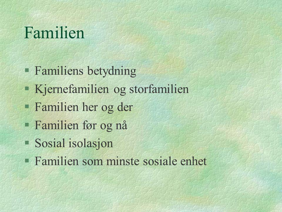 Familien §Familiens betydning §Kjernefamilien og storfamilien §Familien her og der §Familien før og nå §Sosial isolasjon §Familien som minste sosiale