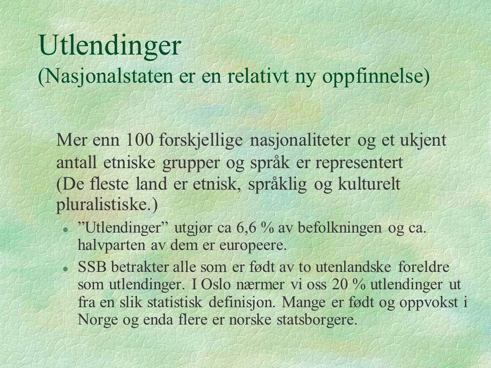Utlendinger (Nasjonalstaten er en relativt ny oppfinnelse) Mer enn 100 forskjellige nasjonaliteter og et ukjent antall etniske grupper og språk er rep